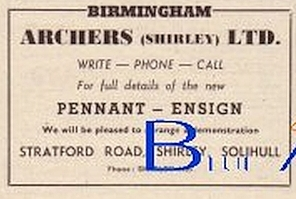 Archers (Shirley) Ltd of Solihull advert in Autocar 18 Oct 1957