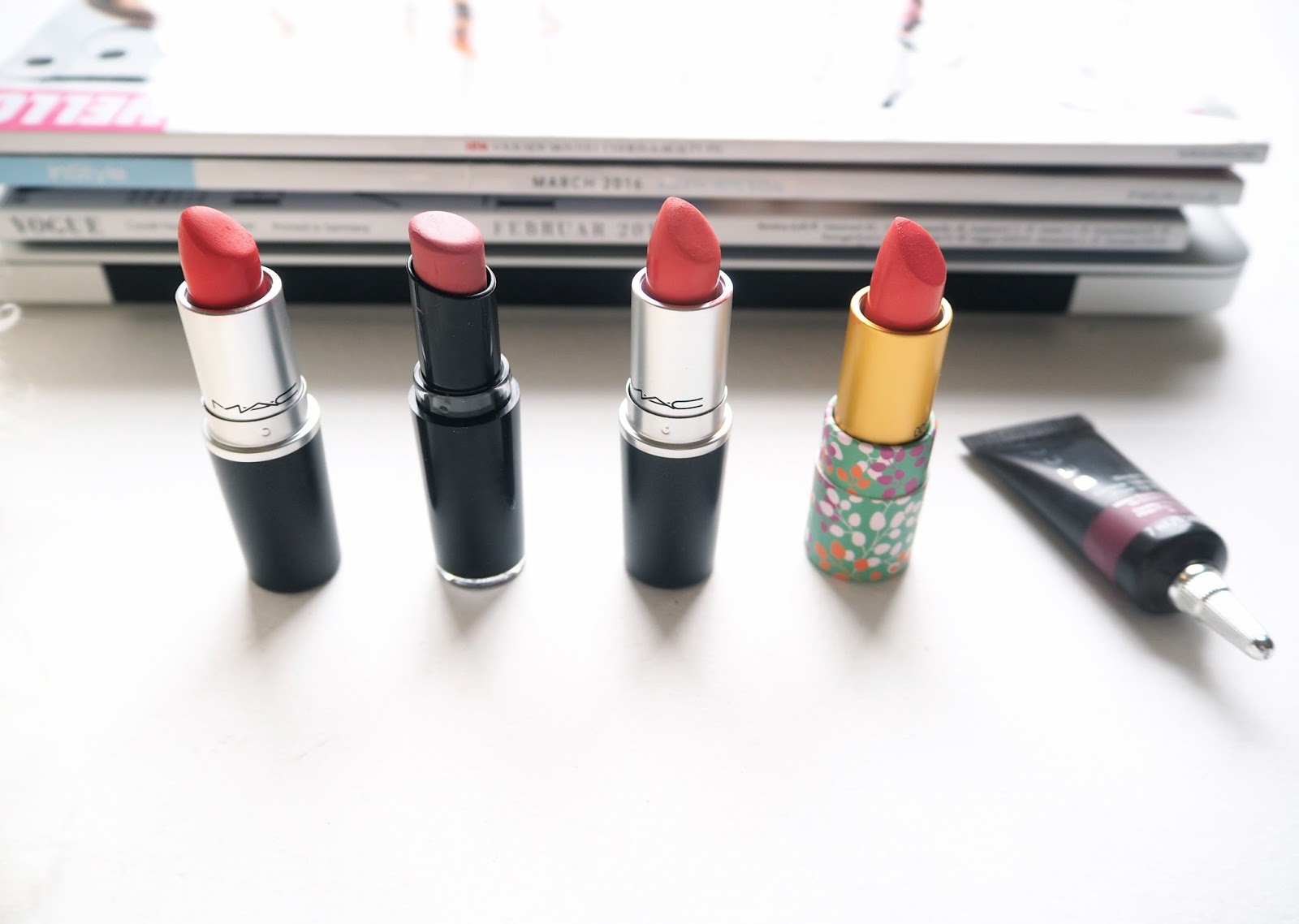 Five Lip Shades for Spring, spring lipsticks, mac lady danger, tropic tonic, wet n wild, megalast lip color, rose bud, tarte amazonian lipstick, coral blossom, becca beach tint, raspberry, review, swatches