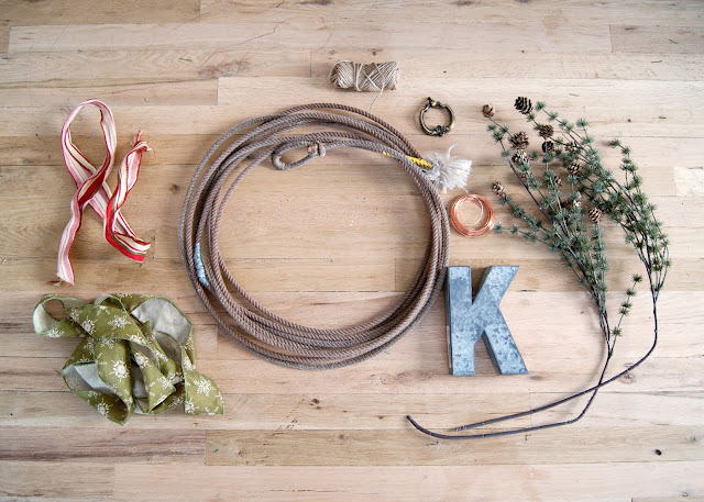 How to Make A Simple Winter Rope Wreath - rope, metal letter, pinecones