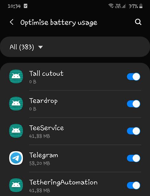 Remove Telegram app from battery optimization mode
