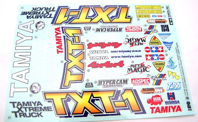 Tamiya TXT-1 decal sheet