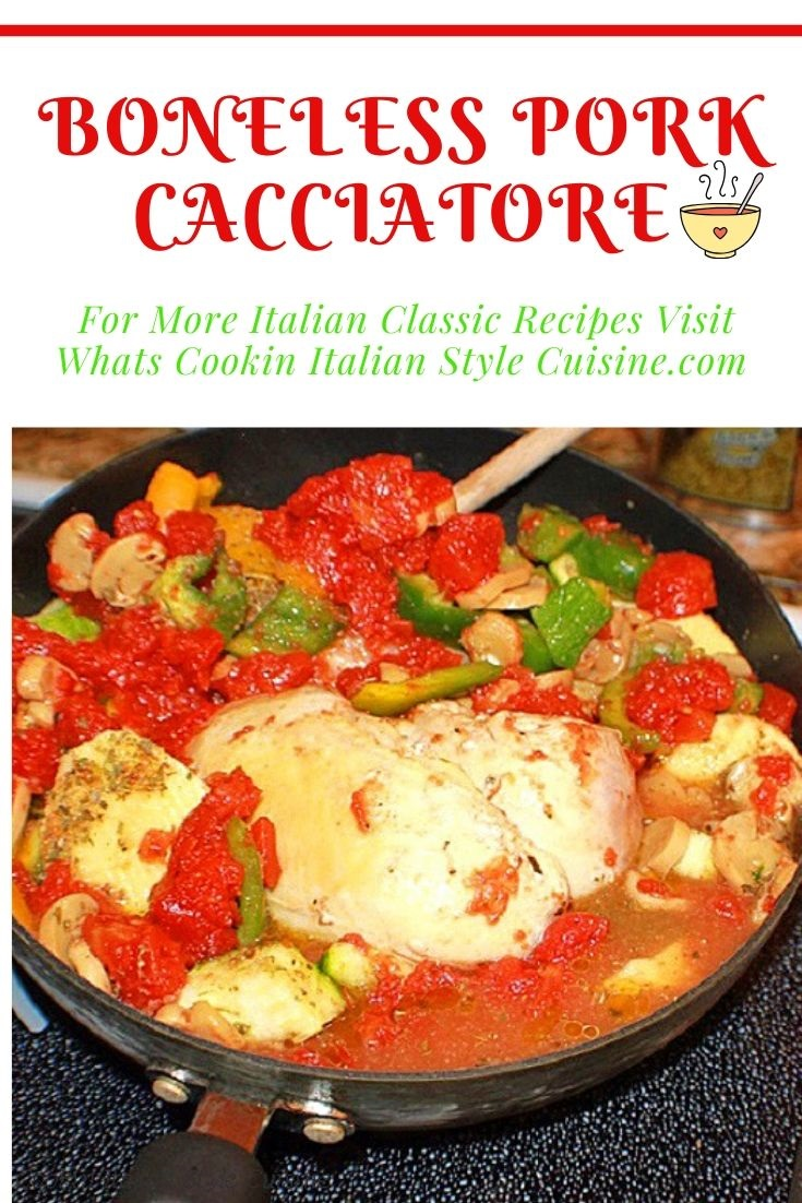 this is a pin for how to make pork cacciatore an Italian one pan classic meal