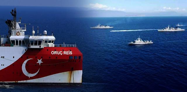 Η παράταξη των ελληνικών πλοίων απέναντι στο Oruc Reis