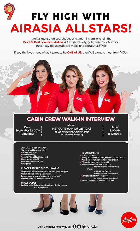 fly gosh: air asia cabin crew recruitment 2018 - walk in interview