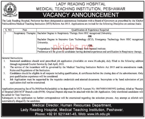 Latest Lady Reading Hospital MTI Medical Posts 2021