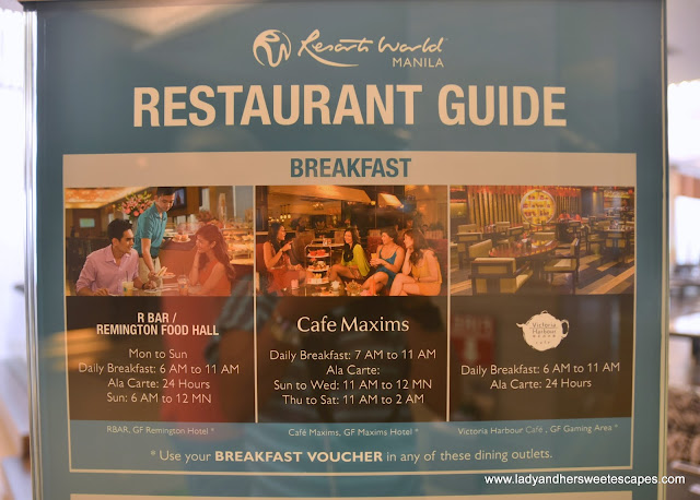breakfast outlets at Remington Hotel Resorts World