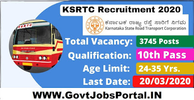 KSRTC Driver Recruitment 2020  KSRTC Recruitment for 3745 Driver Cum Conductors