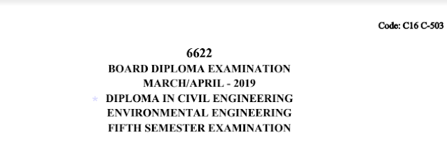 Sbtet c16 civil 503 Environmental Engineering Previous Question Paper March/April 2019