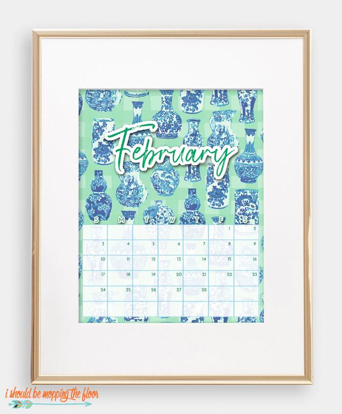 February Chinoiserie Calendar