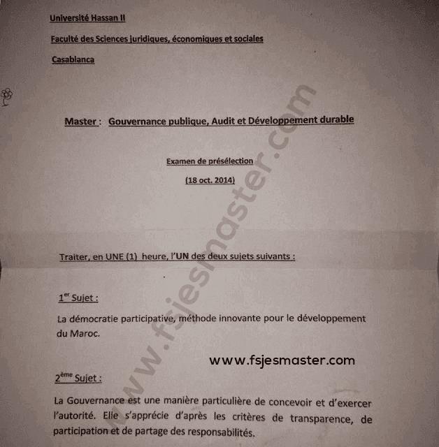 Exemple Concours Master Gouvernance Publique Audit et Développement Durable 2014-2015 - Fsjes Ain Chock