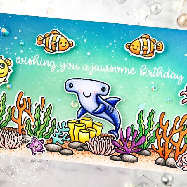 Sunny Studio Stamps: Tropical Scenes Best Fishes Sea You Soon Birthday Card by Ashley Ebben