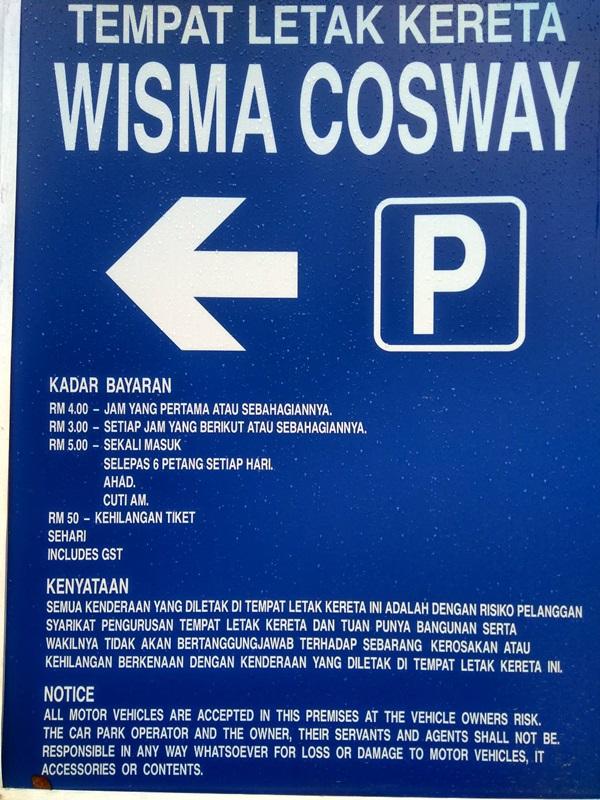 Parking Rate Kl Wisma Cosway Pavilion Bukit Bintang Kuala Lumpur City Centre