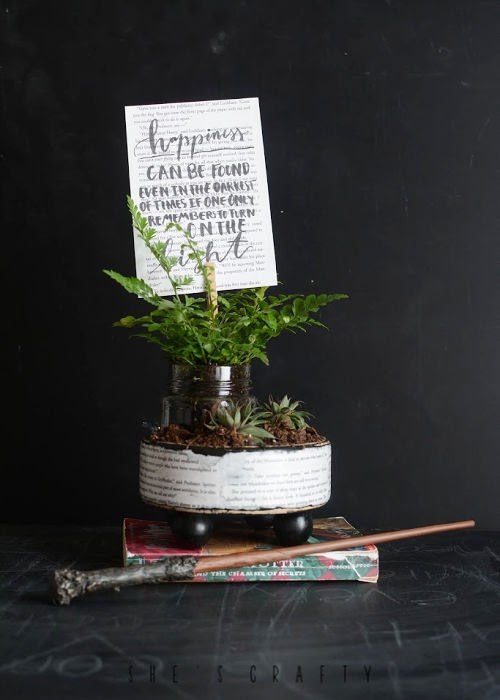 Harry Potter Planter - Hand lettered Happiness Dumbledore quote