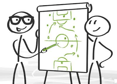 two stick figures stand at a flip chart as they draw up a game plan