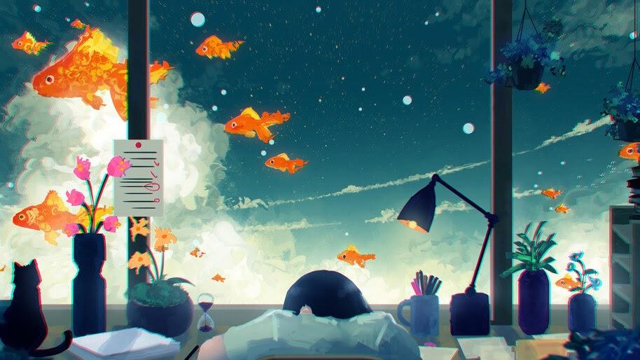 Gold Fish, Anime, Digital Art, 4K, #6.1301