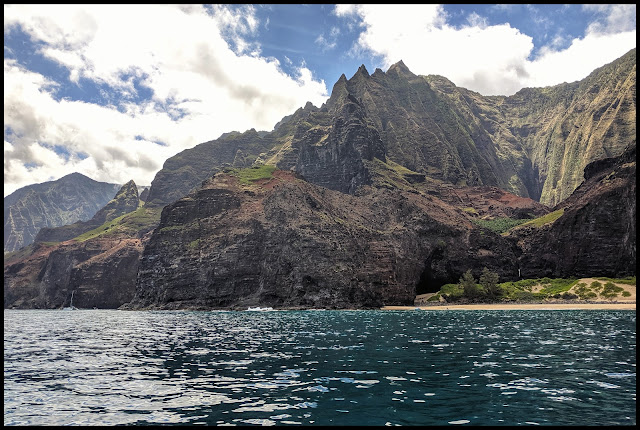 Honopu Arch (Actually Goes Through)  This is view of one side, below is view of opposite side of Arch. - Kauai