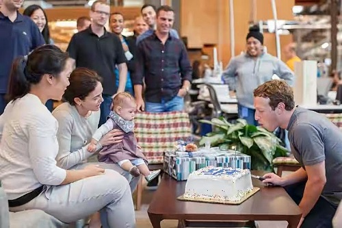 Facebook CEO & Founder Mark Zuckerberg Celebrates 32nd Birthday With Daughter At Work