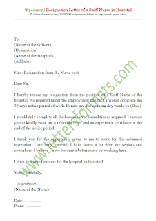 resignation letter format for hospital staff nurse