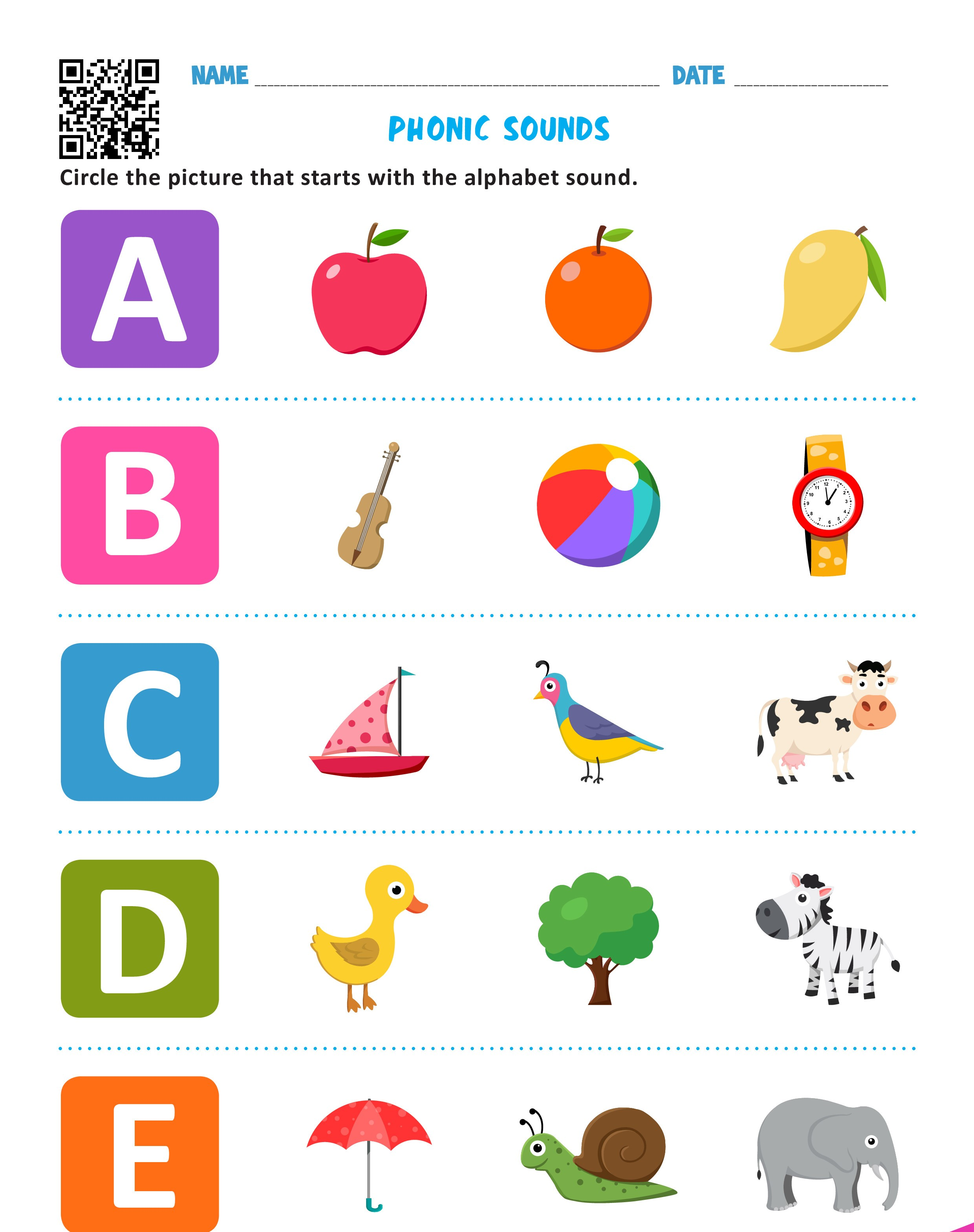 Phonics Worksheet Free