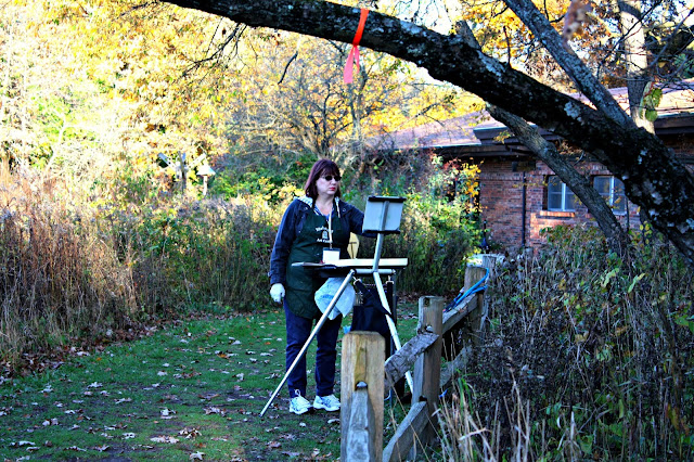 Painting fall nature scenes en plein air at Crabtree Nature Center in Barrington, IL.