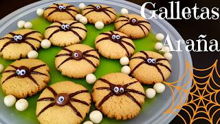 como preparar galletas araña para halloween