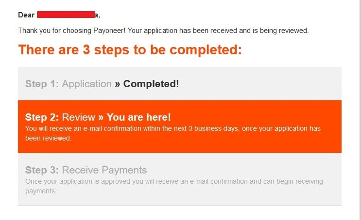 Payoneer application complete