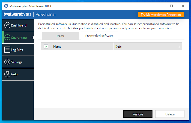 Remove Preinstalled Software With AdwCleaner.