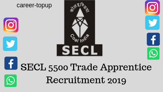 SECL Trade Apprentice Recruitment 2019?