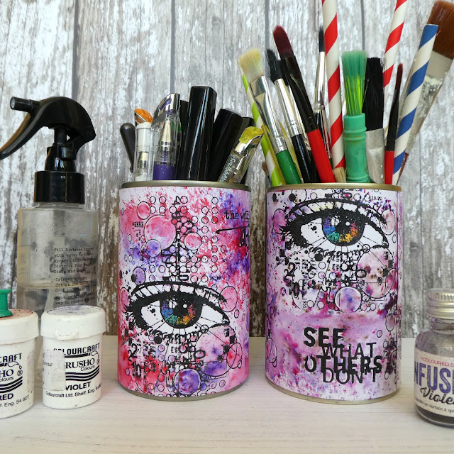 eye stamp | altered tins