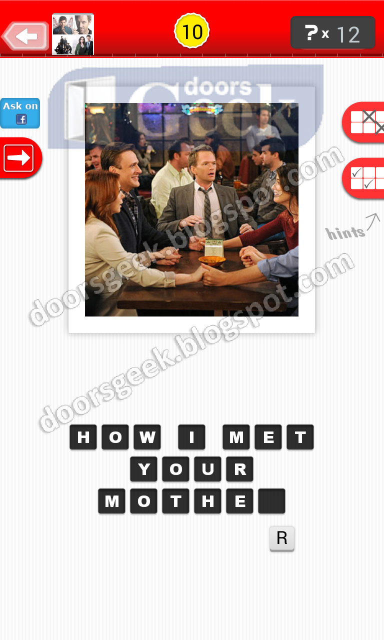 Guess the tv show level 1 10 answer doors geek for Solution wordbrain cuisine