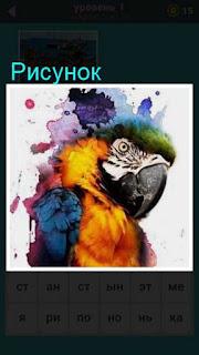 сделан рисунок на стене и рядом сидит попугай в игре 667 слов 1 уровень