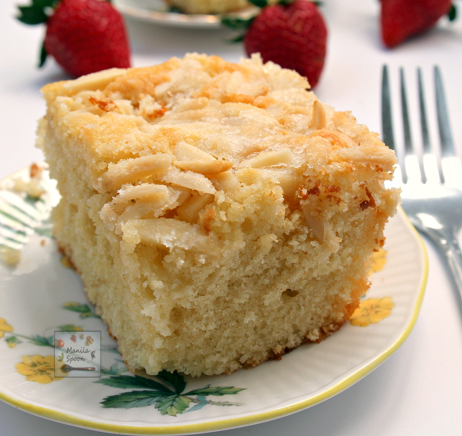 Butter Cake - luxurious is this sponge cake with a generous coating of butter and sugar and a sprinkling of almonds for extra crunch! Serve warm, cold, or room temperature this Butter Cake is always moist and scrumptious!