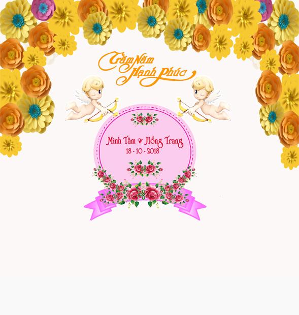 Phông Tranh trí đám cưới nền hoa