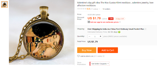 Valentineu0027s Day Gift Idea The Kiss Gustav Klimt Necklace , Valentine Jewelry,  Love Affection Necklaces