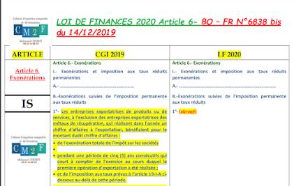 Comparaison projet Loi de finance 2020 avec CGI 2019