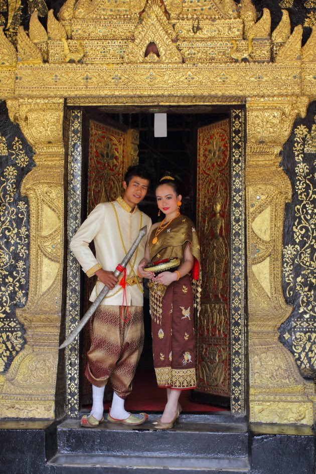 Newly Wed Laos Couple in traditional attire