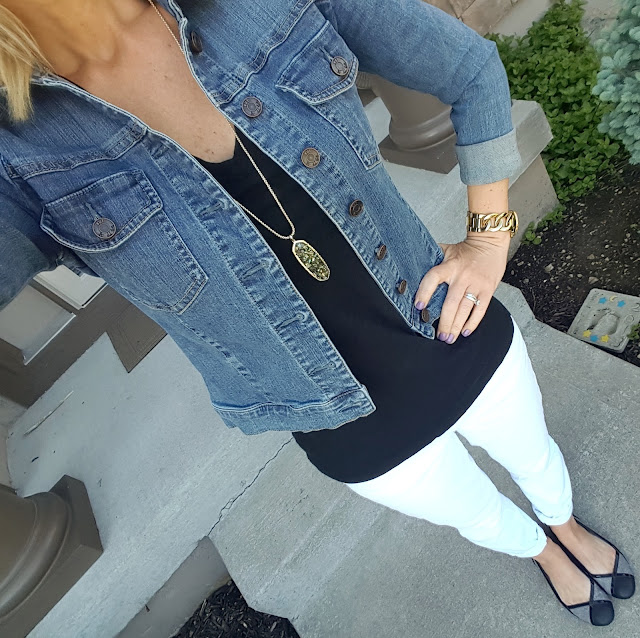 Kut from the Kloth Denim Jacket // Merona Vintage Vee Tee // Gap Factory Jeans (similar) // Michael Kors Twist Runway Watch // Kendra Scott Layden Necklace via Rocksbox // Jessica Simpson Tweed Flats (similar)