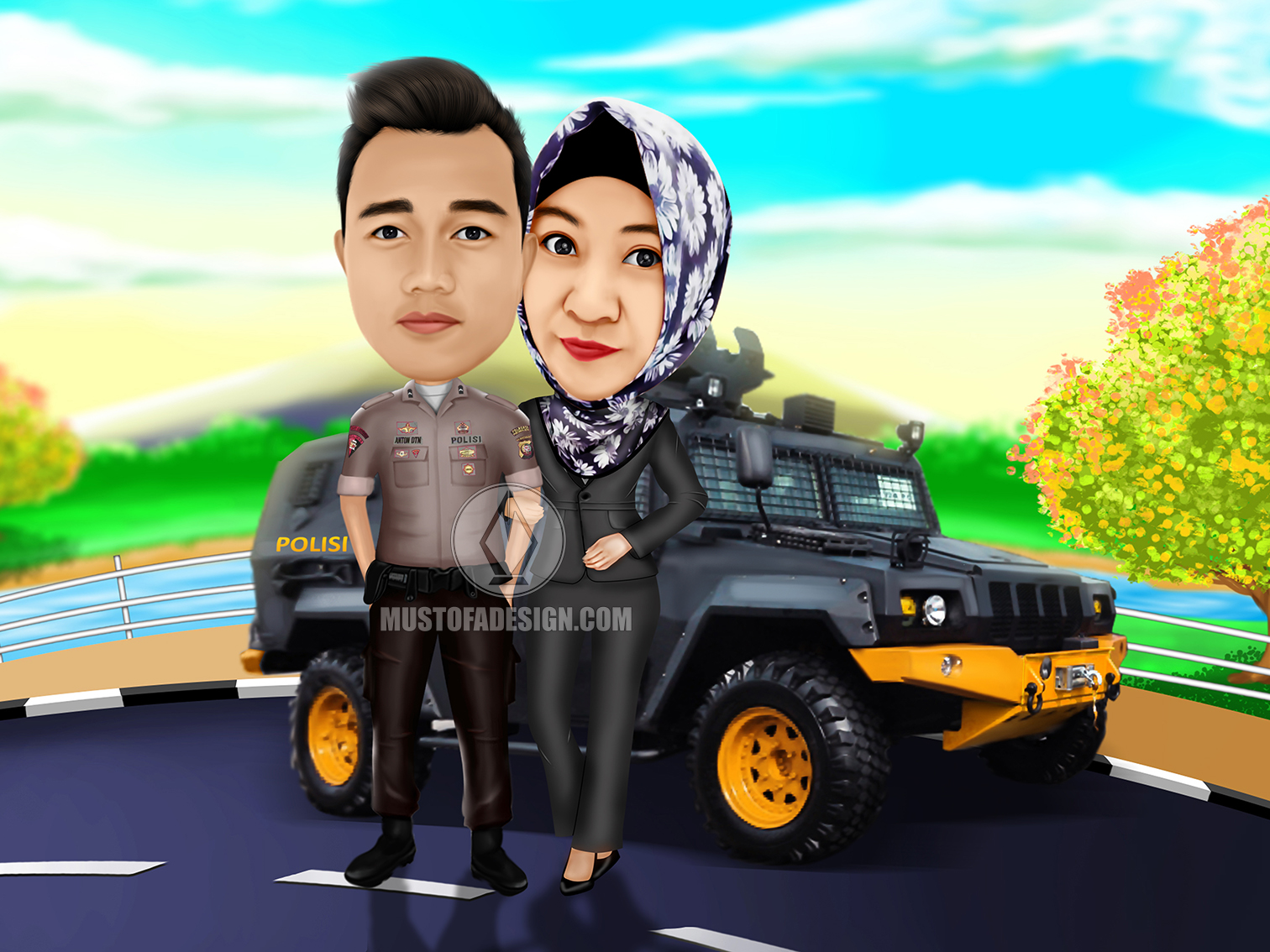 KARIKATUR COUPLE POLISI MUSTOFA DESIGN