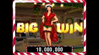 Big Win screenshot on Bettie Page Holiday Splash game at Hit It Rich! Slots