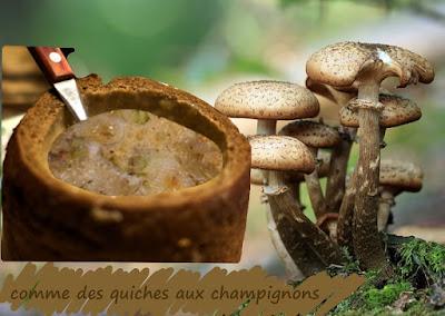 pain aux champignons, oeufs, fromage, gratiné, plat végétarien