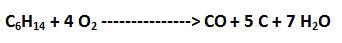 reacción incompleta del hexano