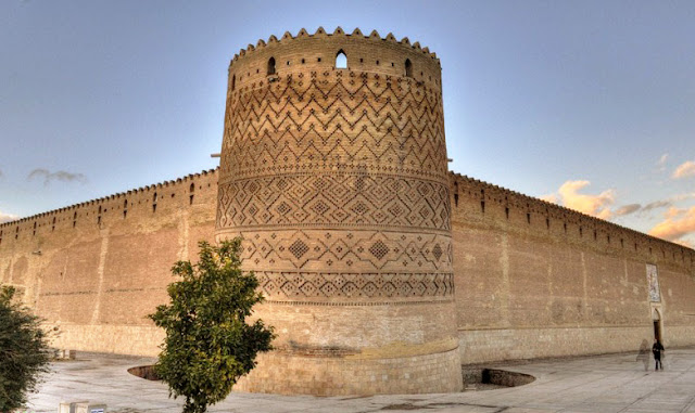 The brickwork ornaments on the tower of Karim Khan castle.