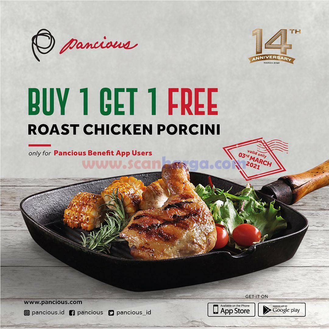 Pancious Promo Roast Chicken Porcini! Beli 1 GRATIS 1