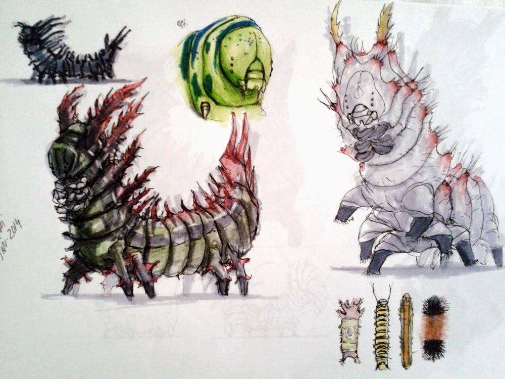 creature design, sketchbook, alien insect, insect, inseto, caterpillar, insect design, sci-fi, lagarta, douglas deri, deri, deriart