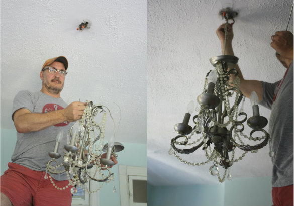 Chandelier Makeover, How To Take Down Old Chandelier