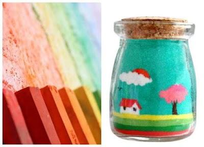 Cómo hacer arena coloreada con tizas de colores y sal