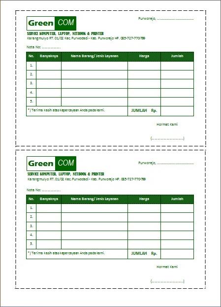 format nota penjualan ms word document