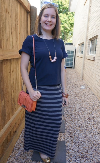navy frill sleeve tee with grey striped jersey maxi skirt peach and blush accessories birthday party outfit | awayfromblue