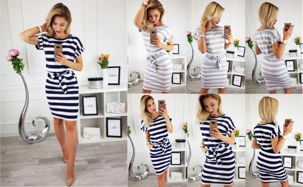 Women's Striped Elegant Short Sleeve Wear