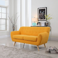 Mid-century living room couch with yellow color